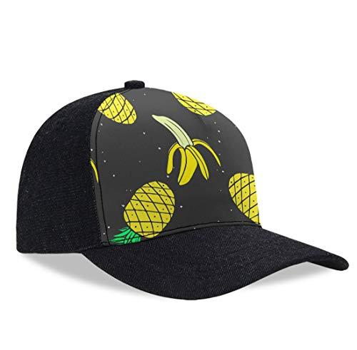 (Men Women Baseball Cap Vintage Cotton Washed Distressed Hats Adjustable Dad-Hat (Pineapple Banana Yellow Pattern) )