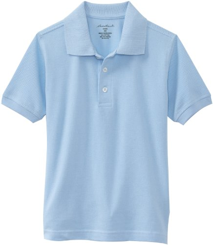 Eddie Bauer Boys' Big Polo Shirt (More Styles Available), Pique Light Blue, 14/16 ()