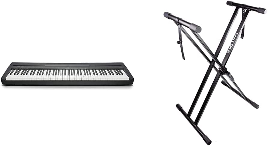 Yamaha P-45Piano digital ligero y portátil para aficionados y principiantes, color negro + RockJam Xfinity Doublebraced Premontado Soporte de teclado ...