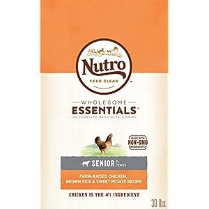 NUTRO WHOLESOME ESSENTIALS Natural Senior Dry Dog Food Farm-Raised Chicken, Brown Rice & Sweet Potato Recipe, 30 lb. Bag 103