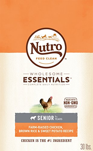 NUTRO WHOLESOME ESSENTIALS Natural Senior Dry Dog Food Farm-Raised Chicken, Brown Rice & Sweet Potato Recipe, 30 lb. Bag