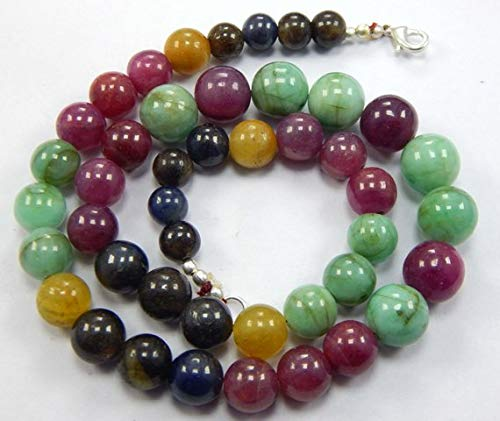 Super Quality Gemstone Beautiful Jewelry Multi Sapphire and Ruby Multi-Color smooth Plain Round Beads - 19 inches 8-12 mm Code-JP-2241   B07KNRNCX5