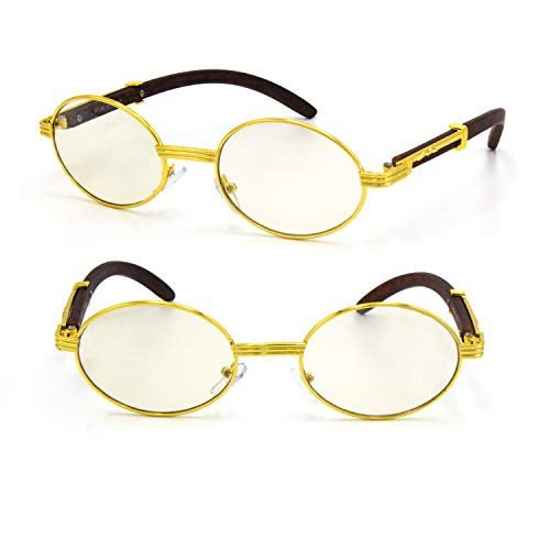 For Men's Gold Color Wood Effect Metal Frames Vintage Style Retro Eye Clear Lens Glasses (Oval)