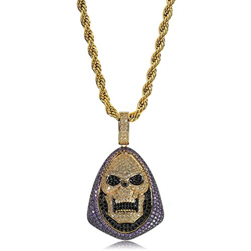 TOPGRILLZ 14K Gold Plated Simulated Diamond Iced Out Bling Skull Pendant Necklace for Men Women Hip Hop Jewelry (Gold Skull)