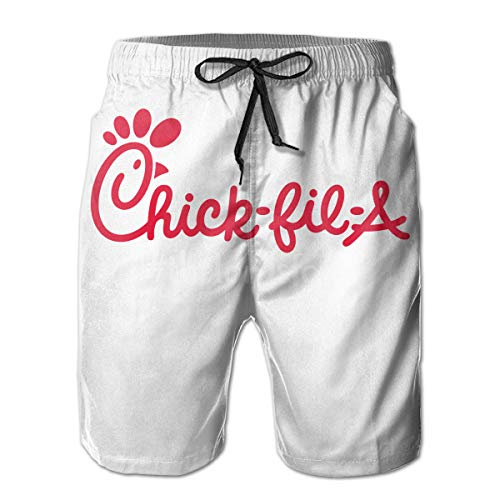 CustomART Mens Funny Swim Trunks Quick Dry Beachwear Sports Running Swim Board Shorts Mesh Lining - Chick FIL A The Lords Food White (Chick Short)