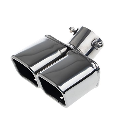 - RingBuu Universal Stainless Steel Car Rear Round Exhaust Dual Pipe Tail Throat Muffler