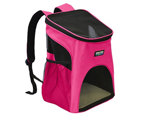 KritterWorld Outdoor Soft-sided Dog Cat Pet Carrier / Mesh Pup Pack / Travel Backpack Padded Adjustable Shoulder Strap with Built-in Collar Buckle, Removable Fleece Bed, Sided Pocket - Hot Pink