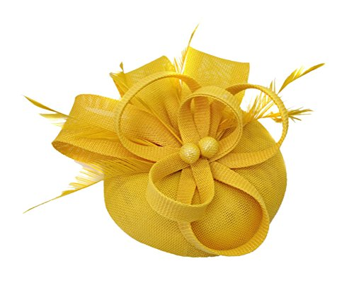 Ahugehome Fascinator Headband Hair Clip Feather Pillbox Hat Mesh Cocktail Party Wedding (KR Yellow)