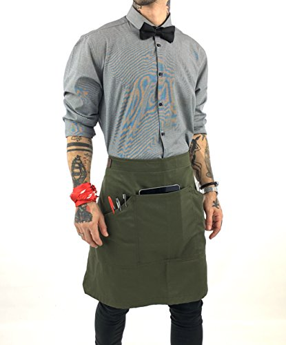 - Under NY Sky Half Army Green Apron with Durable Twill - Bistro Apron, Waist Apron Adjustable for Men and Women - Professional Barista, Bartender, Mixologist, Florist, Server Aprons