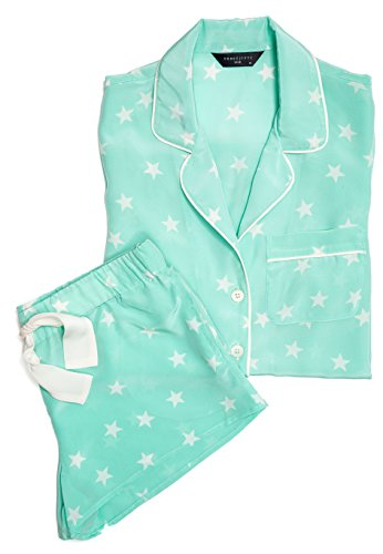 Belle Silk Short Sleeve and Short set Mint Star (small) by Three J NYC