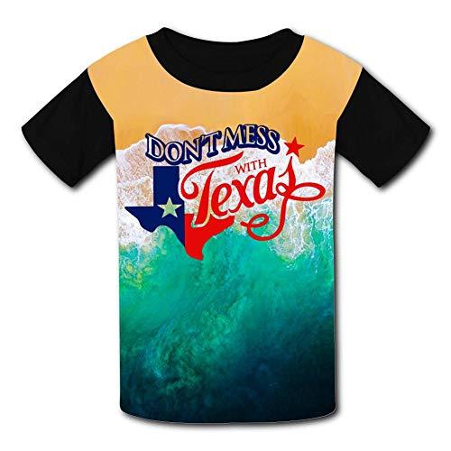 (Aslgisy Child Summer Tee,Hipster Don't Mess with Texas Casual 3D Printed T-Shirt Short Sleeve for Kids Boys Girls M Black)