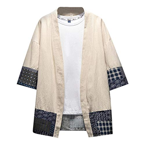 Mens Summer Clothing Outfits,Tronet Men's Summer Cotton and Hemp Buttonless Seven-Minute Sleeve Blouse Top