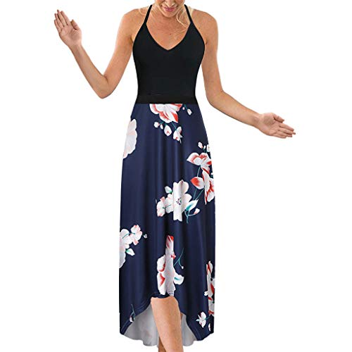 Women's Dress Halter V Neck Sleeveless Summer Casual Asymmetrical Patchwork Floral Maxi ()