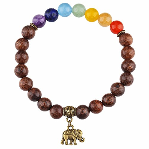 SUNYIK 7 Chakra Gold Silk Sandalwood Bracelet with Vintage Elephant