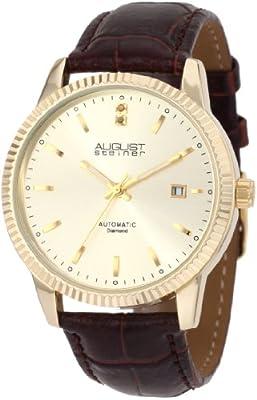 August Steiner Men's ASA825YG Diamond Automatic Strap Dress Watch