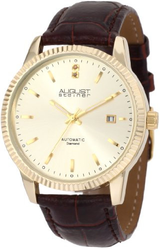August Steiner Men's ASA825YG Diamond Automatic Strap Dress Watch