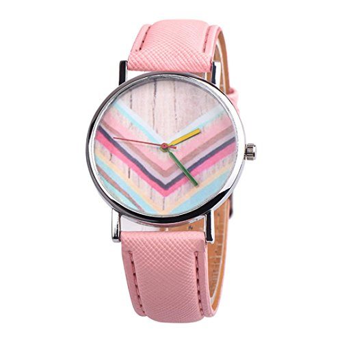 Analog Quartz Watches for Women Girls On Sale Clearance Cuekondy Inverted Triangle Rainbow Pattern Dial Canvas Band Luxury Dress Wrist Watch (B) from Cuekondy_Watch
