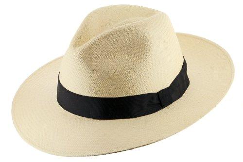 GATSBY FEDORA Panama Hat NATURAL STRAW Stylish SZ 7 1/4 by Ultrafino