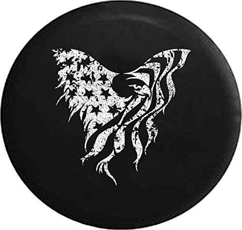 Jeep Tire Cover for Spare Tire Distress American Bald Eagle Stars and Stripes Flag Black 35 Inch