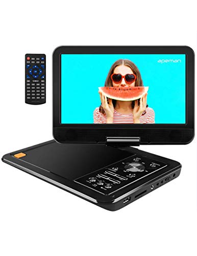 APEMAN 10.5'' Portable DVD Player with Swivel Screen Remote Controller Support SD Card USB DVD AV in/Out Earphone Speaker 5 Hours Built in Rechargeable Battery for TV Kids Car Travel Companion