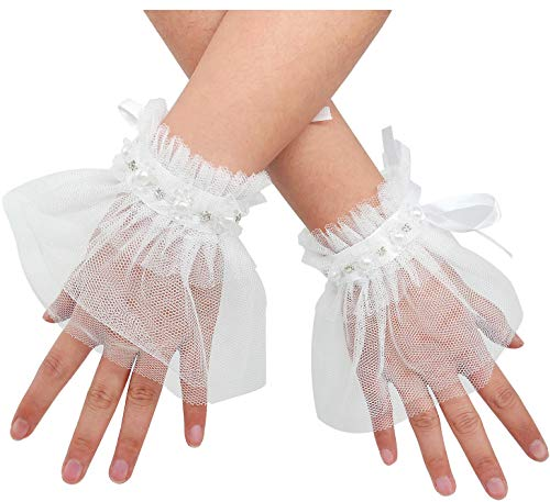 L'VOW Women's Gothic Lace Mesh Stretch Wrist Cuffs Bracelets For Wedding Party Pack of 2 (Y01-White)]()