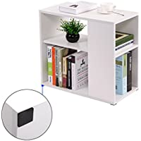 JAXPETY Chair Side End Table White Wooden Shelf Living Room Furniture Book Shelf
