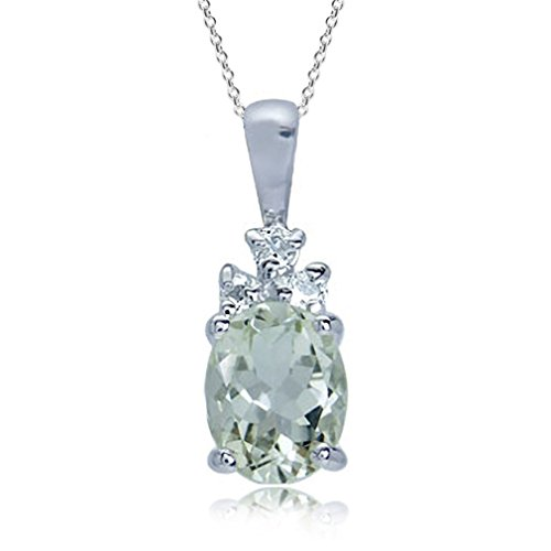 - 1.8ct. Natural Green Amethyst & White Topaz 925 Sterling Silver Pendant w/ 18 Inch Chain Necklace