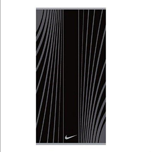 Nike Gym Sweat Towel: Nike Striped Jacquard Towel (Large, Black/Dark Grey/Wolf