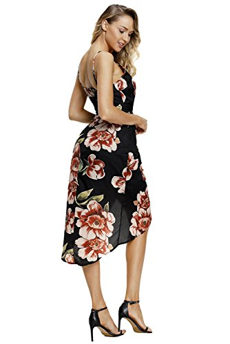 Casual V Dress Strap Printed Floral Neck Dearlovers Women Black Midi w4q7PXxv