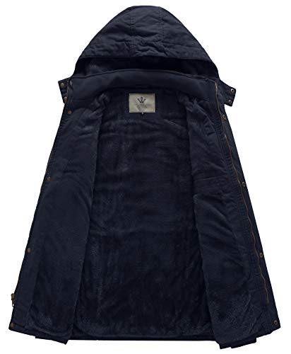 WenVen Homme Parka d'Extérieur d'hiver Manteau en Coton Chaud à Capuche Amovible Veste Coupe-Vent Mi-Longue Veste…