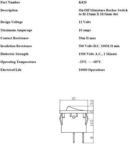 Rectangle Square Rocker Switch 12V On//Off Car Dash Light K420 ROBINSON