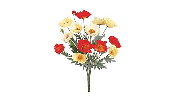 Amazon 21 Silk Poppy Flower Bush Orangeyellow Pack Of 12