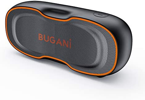 Bluetooth Speaker, Bugani Transportable Bluetooth Speaker 5.0, Clear Stereo, Wealthy Bass, Waterproof Speaker, 24 Hours Lengthy Play Time, Wi-fi Audio system Appropriate for House, Outside, Journey (Black)