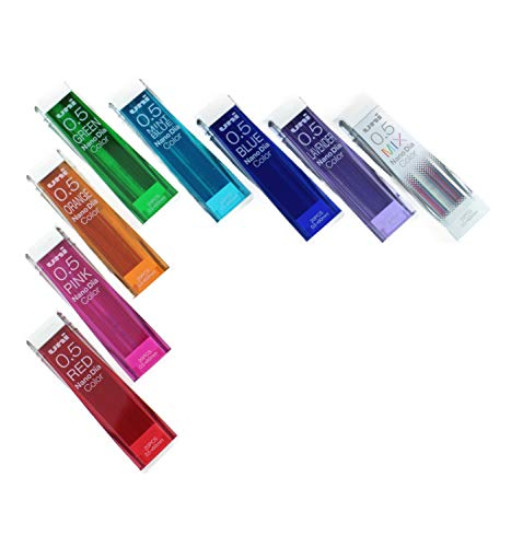Uni Mechanical Pencil Leads Nano Dia 0.5mm, 8 Colors, 20 leads 8-packs (Total 160 Leads) Japanese Stationery Original Package.(uni05-8color)