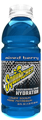 Sqwincher 20 oz Zero Sugar Free Wide Mouth Ready to Drink Electrolyte Replacement Bottle, Mixed Berry 030804-MB (Case of 24) (Isotonic Drink Mix)