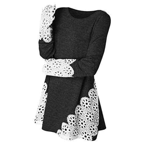 Byyong Women's Tunic Tops for Leggings Round Neck Lace Patchwork Shirts Long Sleeve Blouse