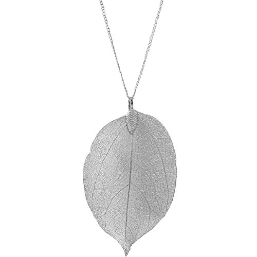 Humble Chic Filigree Leaf Necklace - Statement Dipped Pendant Long Chain Link, (Silver Leaf Pendant)