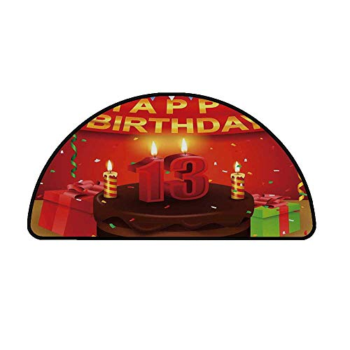 13th Birthday Decorations Comfortable Semicircle Mat,Creamy Chocolate Cake with Candles Presents Ribbons Festive Theme for Living Room,11.8