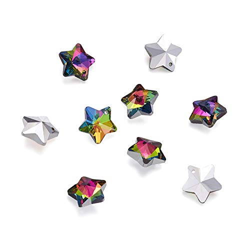 Craftdady 100PCS Colorful Star Silver Plated Bottom Electroplated Faceted Glass Pendants Charms Loose Bead for Bracelets Necklace Jewelry Making Findings (Faceted Pendant Star)