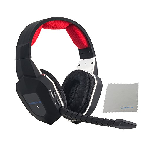 HAMSWAN Gaming Headset 2.4GHz Wireless Headphones with Detachable Mic and Rechargeable Battery for...