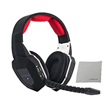 Gaming Headset 2.4GHz Wireless Headphones with Detachable Mic and Rechargeable Battery for Xbox One, Xbox 360, PS3, PS4, PC, and TV (A Microsoft Adapter or Kinect is Needed for Use with Xbox one) HAMSWAN