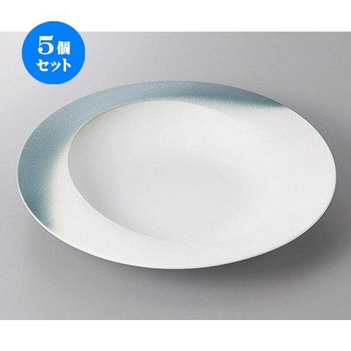 5個セットグレー吹ウェーブパスタ皿 [ 25.3 x 4.5cm ] 【 丸盛皿 】【 料亭 旅館 和食器 飲食店 業務用 】   B07BF8TJ3Q