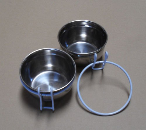 Lot of 2 Bird Parrot Cage Stainless Steel Seed Water Feeder Cups--4 by Mcage