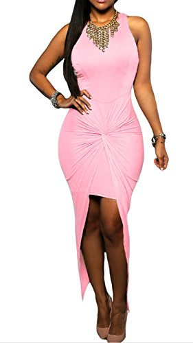 Elady Sexy Women Maxi Dress Slit Clubwear Night Party Bodycon Pink (L)