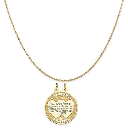 14k Yellow Gold Mizpah Charm on a 14K Yellow Gold Rope Chain Necklace, 16
