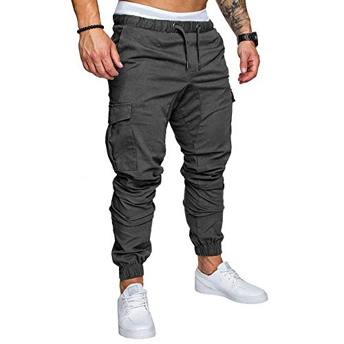 LINGMIN Men's Athletics Pocket Chino Cargo Pant Elastic Waist Trousers Jogger Pants Darkgrey