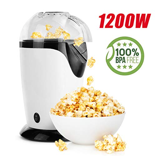 Ahlink Hot Air Popcorn Popper, 1200W Popcorn Maker, Electric Popcorn Machine for Home Use, No Oil Needed with Measuring Cup and Removable Lid, White (Best Popcorn Maker For Home Use)