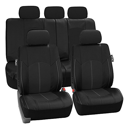 FH-PU008114 Perforated Leatherette Full Set Car Seat Covers, (Airbag & Split Ready), Solid Black Color - Fit Most Car, Truck, SUV, or -