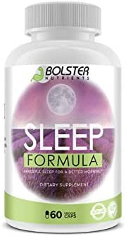 Bolster Nutrients - Natural Sleep Aid Pills for Peaceful Sleep   No Addiction - No Side effects   Vegan Pills   Herbal Sleeping Complex with Bromelain, Lavender, Grape Seeds, Wild Green Oats (60 Caps