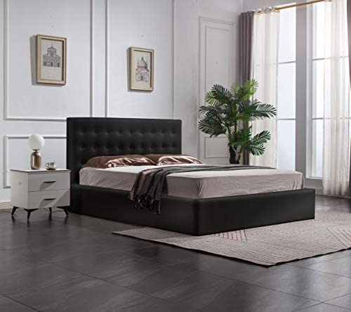 Greatime BS1111-2 Queen Black Leatherette Storage Bed Queen Size